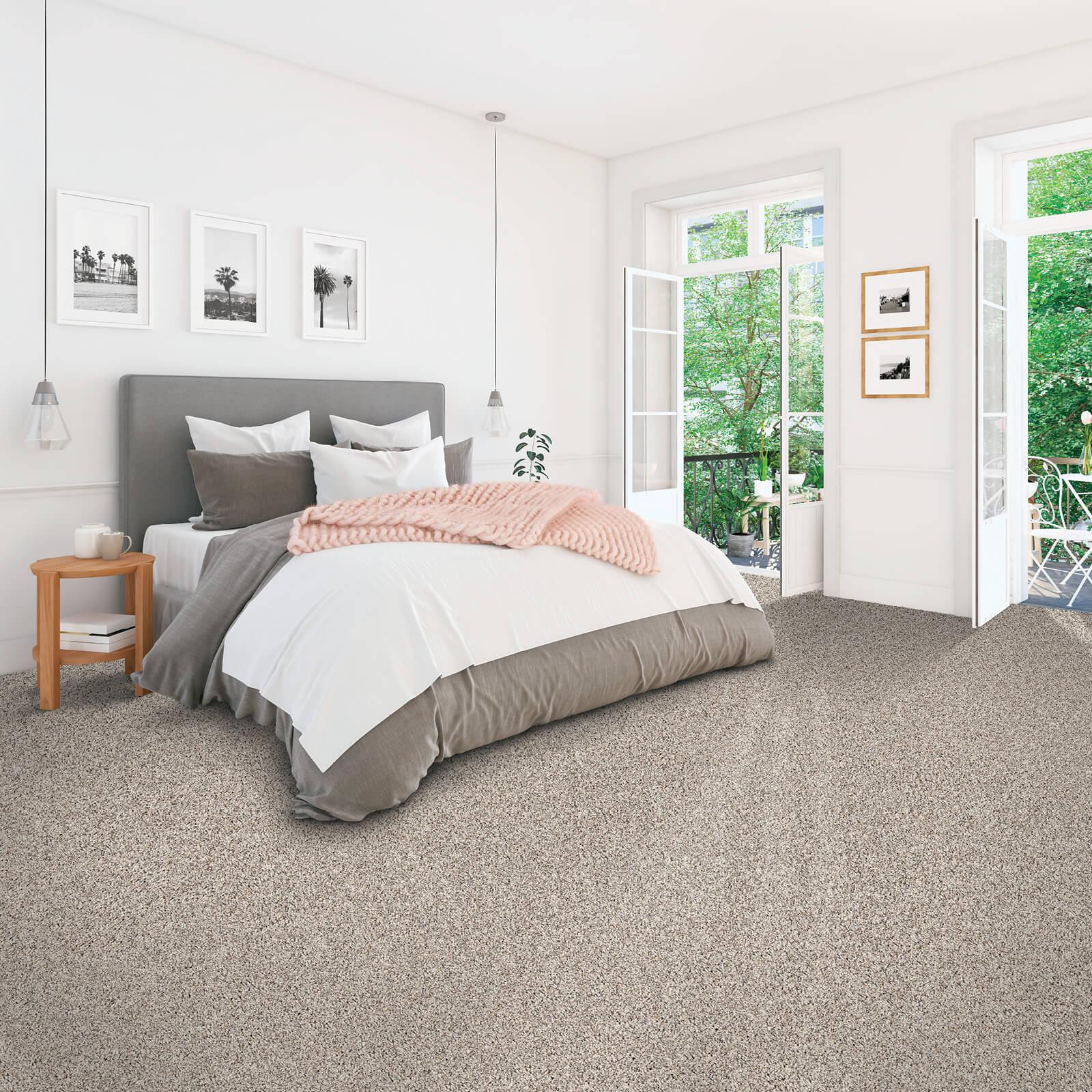 Grey carpet of bedroom | McSwain Carpet & Floors
