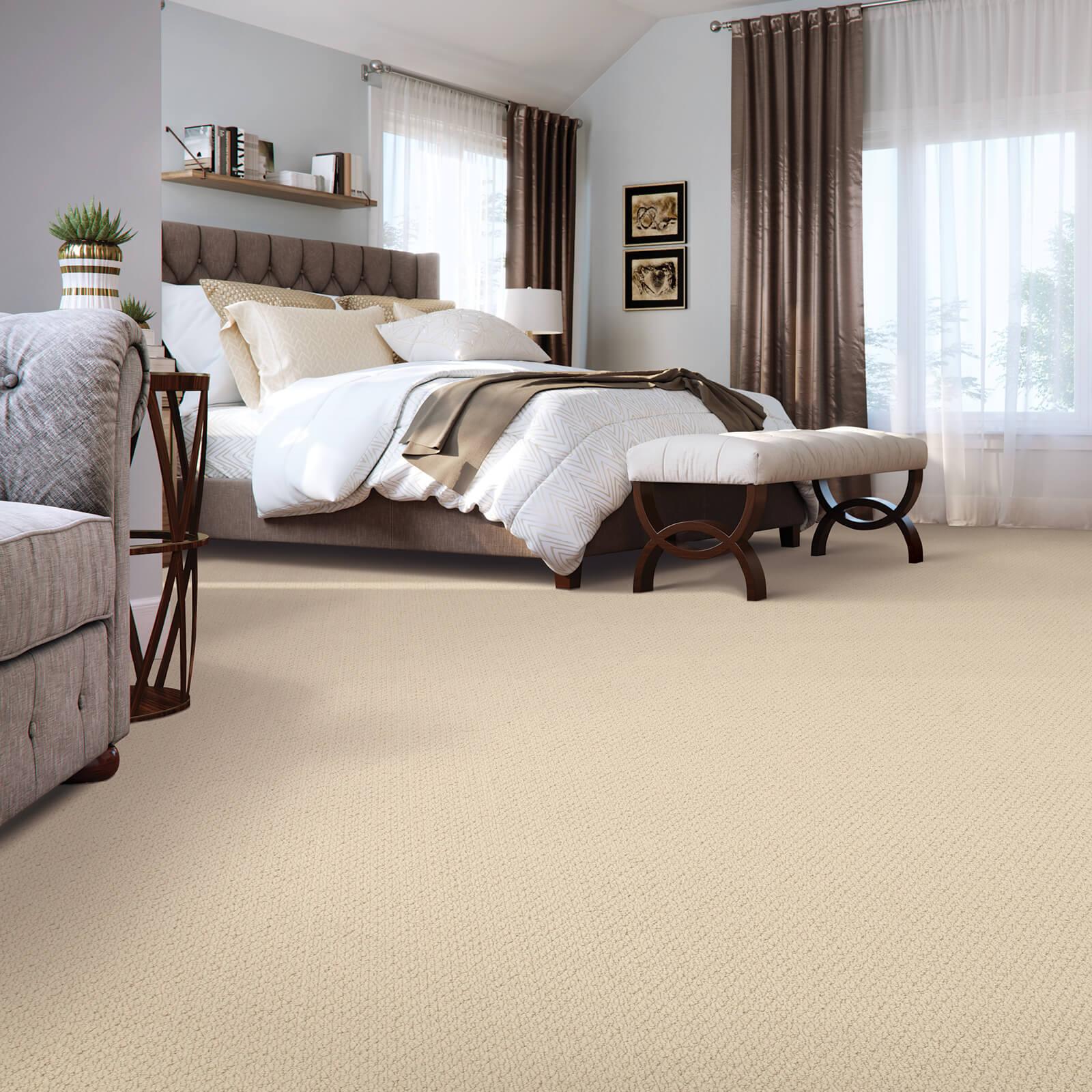 Spacious bedroom carpet flooring | McSwain Carpet & Floors