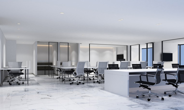 Working area in modern office with white marble floor and meeting room | McSwain Carpet & Floors