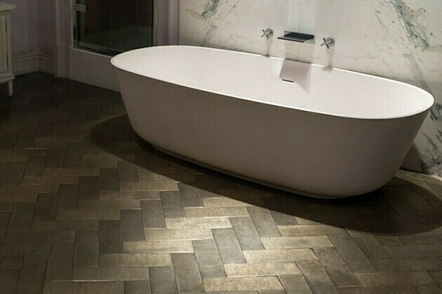 Marble and Wood Bathroom | McSwain Carpet & Floors